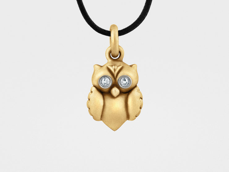 Owl Pendant in Gold, Diamonds