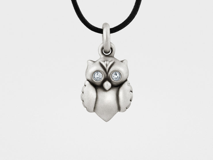 Owl Pendant in Sterling Silver, Diamonds
