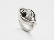 Rotating Eye Ring in Sterling Silver with Indian Agate