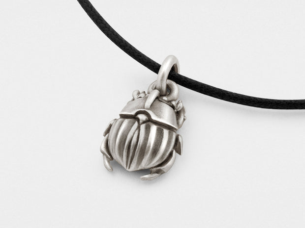 Scarab Beetle Pendant in Sterling Silver