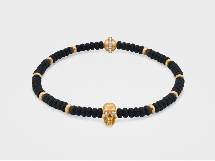 Skull Bracelet in 18K Gold with Black Faceted Agate and Gold Beads