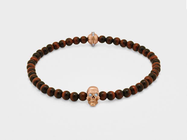Skull Bracelet in 18K Gold with Red Tiger Eye and Diamond Bead