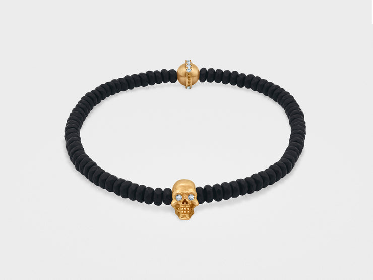 Skull Bracelet with Black Faceted Agate
