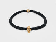 Skull Bracelet in 18K Gold with with Black Round Agate