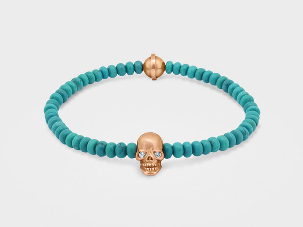 Skull Bracelet in 18K Gold with Diamond Eyes and Turquoise