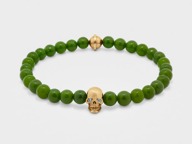 Skull Bracelet in 18K Gold with Diamond Eyes and Green Jade
