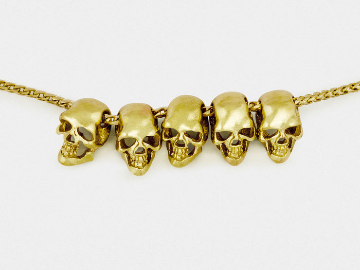 Five Skulls 18K Gold Trophy Necklace with Gold Chain