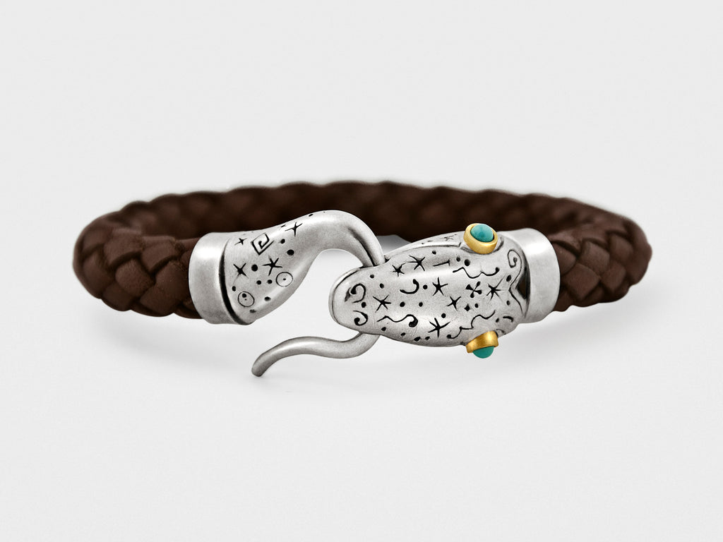 Snake Leather Bracelet in Silver, 18KT Gold and Turqoise