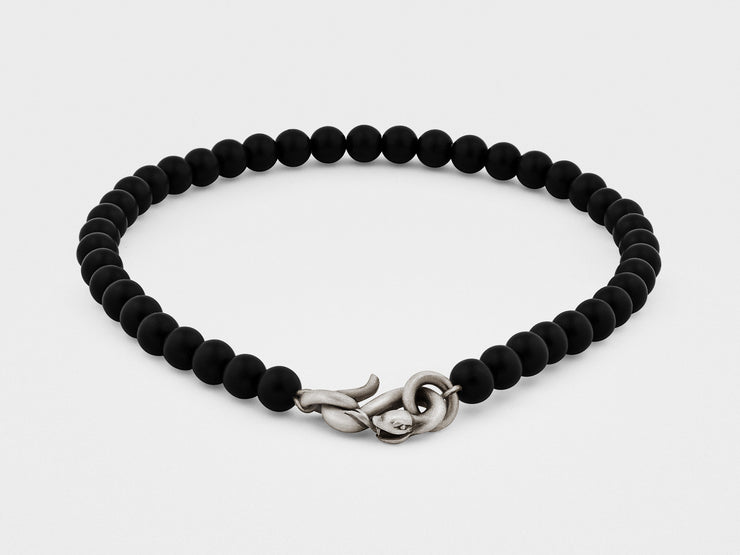 Snake Clasp Bracelet in Sterling Silver with Black Onyx