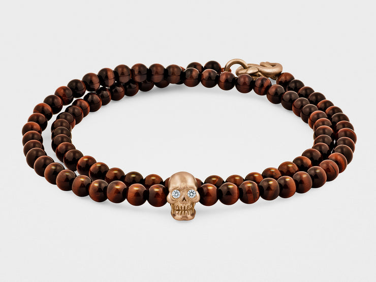 Double-Wrap Skull Bracelet in 18K Gold with Diamond Eyes, Red Tiger Eye and Snake Clasp