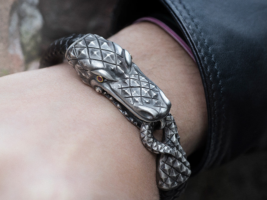 Alligator Clasp Bracelet in Silver, 18KT Gold and Rubies