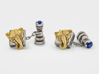 Chess Cufflinks in Sterling Silver, 18K Gold with Diamonds and Gemstones