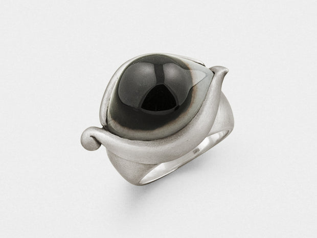 Eye Ring in Sterling Silver with Indian Agate