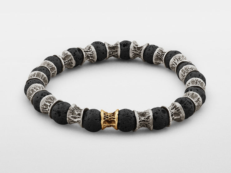 Lava Beads, One Gold Link, Oxidized Sterling Silver Bracelet