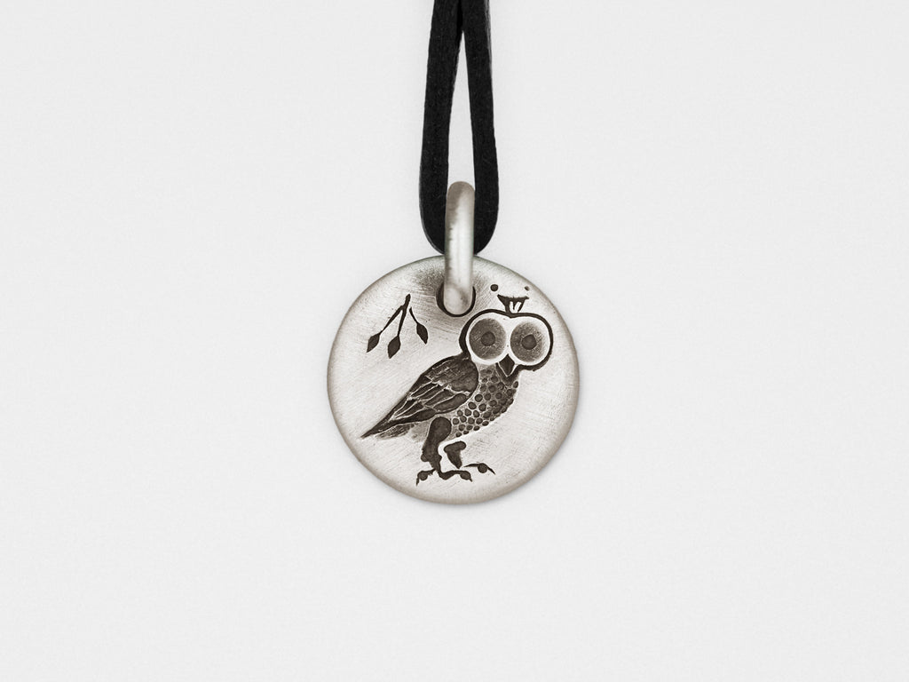 Owl Charm Pendant in Sterling Silver