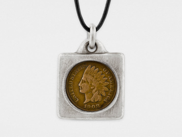 Indian Head Penny Coin in Sterling Silver Frame