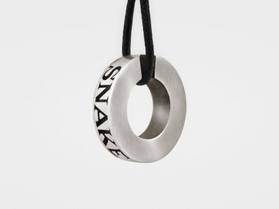Snake Bones Ring Pendant in Oxidized Sterling Silver