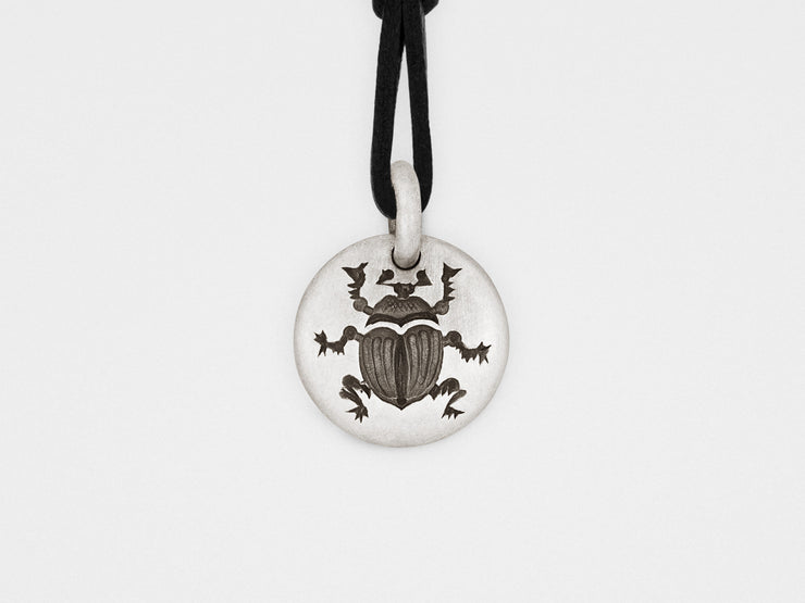 Scarab Beetle Charm Pendant in Sterling Silver