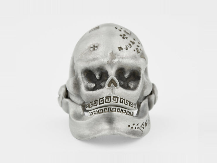 Skull Ring with Hinged Jaw in Sterling Silver