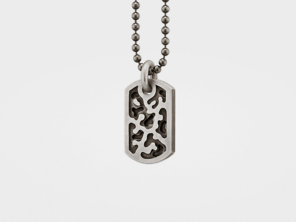 Small Camouflage Dog Tag in Sterling Silver