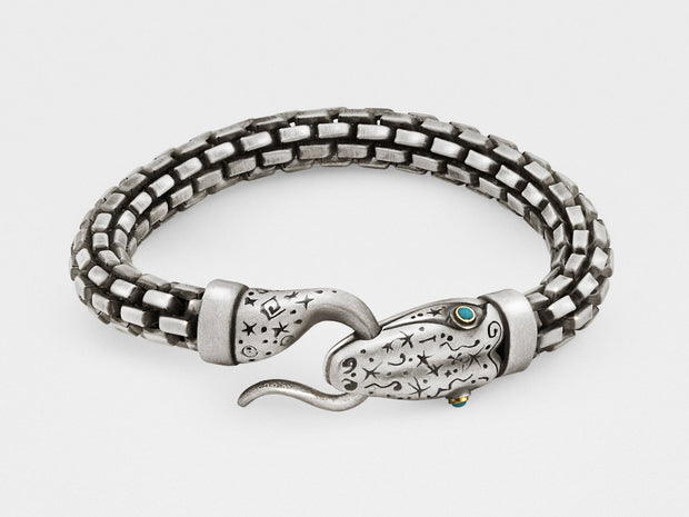 Snake Bracelet with Chain in Silver, 18KT Gold and Turquoise