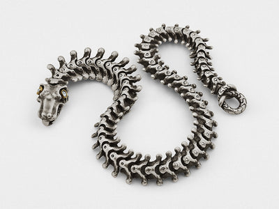 """Snake Bones"" Bracelet in Sterling Silver and 18KT Gold with Diamonds"
