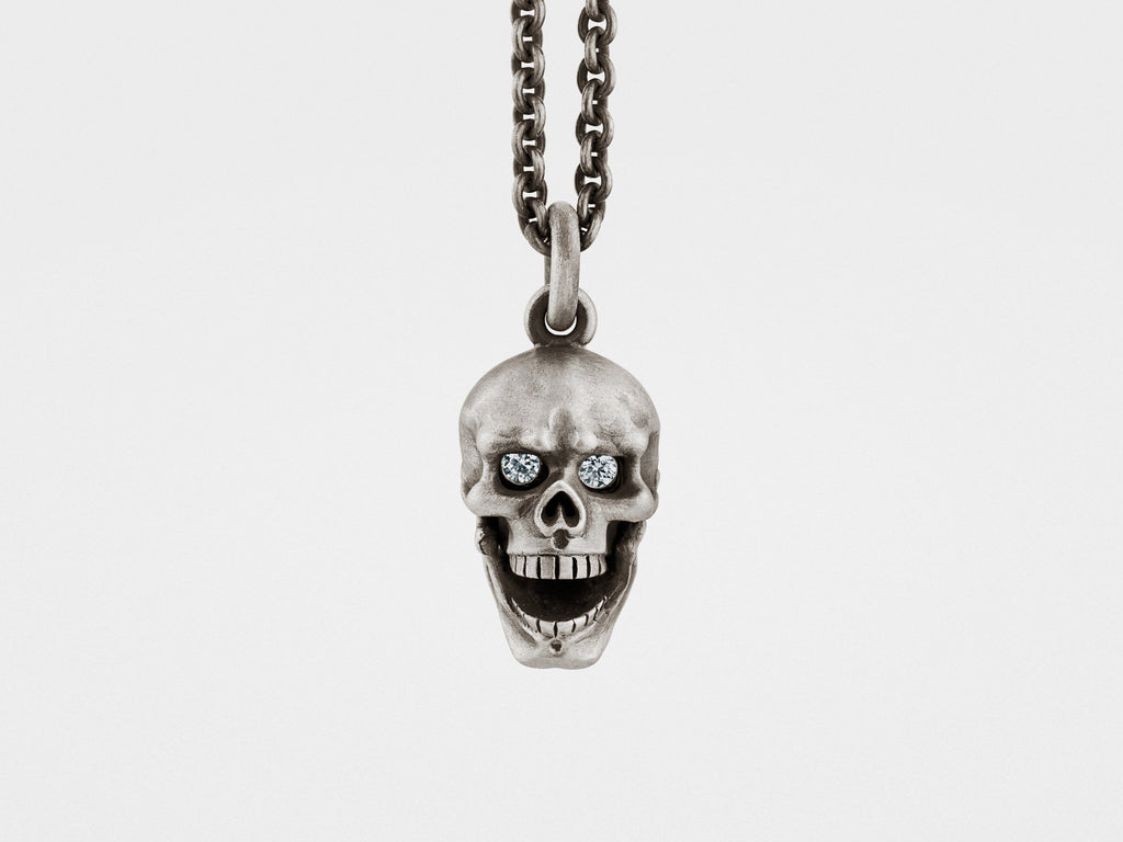 Sterling Silver Skull Pendants Skull pendant with hinged jaw diamond eyes in silver snake bones skull pendant with hinged jaw and diamond eyes in sterling silver audiocablefo