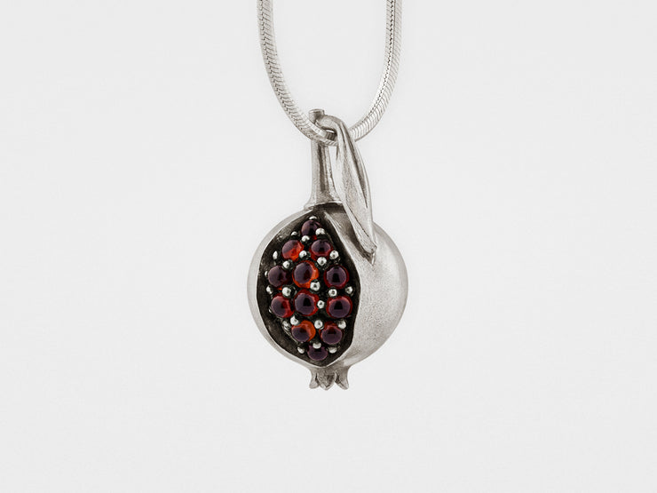 Pomegranate Pendant in Sterling Silver with Garnet