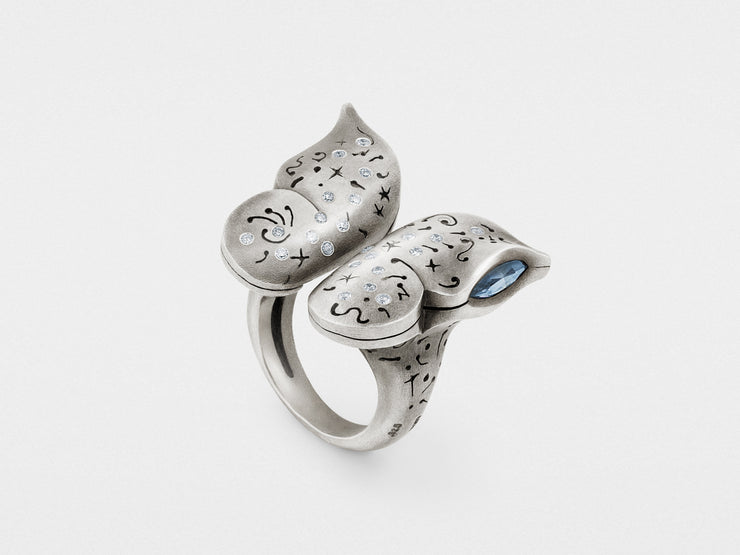 Butterfly Ring with Diamonds in Sterling Silver