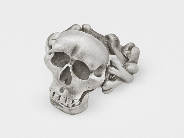Skull and Crossbones Ring with Hinged Jaw