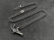 Gun Pendant in Sterling Silver with Black Diamonds