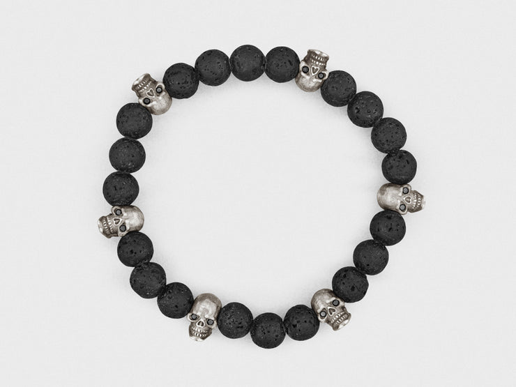 Sterling Silver Skulls, Black Diamonds, Lava Beads Bracelet