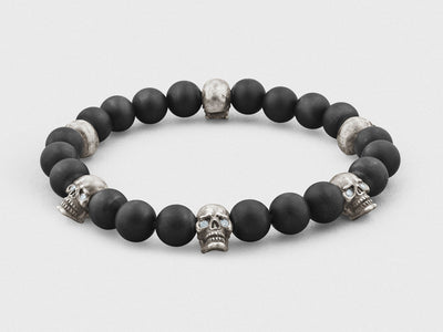 Sterling Silver Skulls, Diamonds, Onyx Beads Bracelet