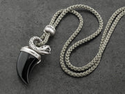 Snake Pendant Necklace with Black Onyx Tusk