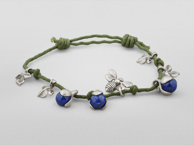 Silver Bracelet with Lapis Lazuli, Flower and Bee Charms