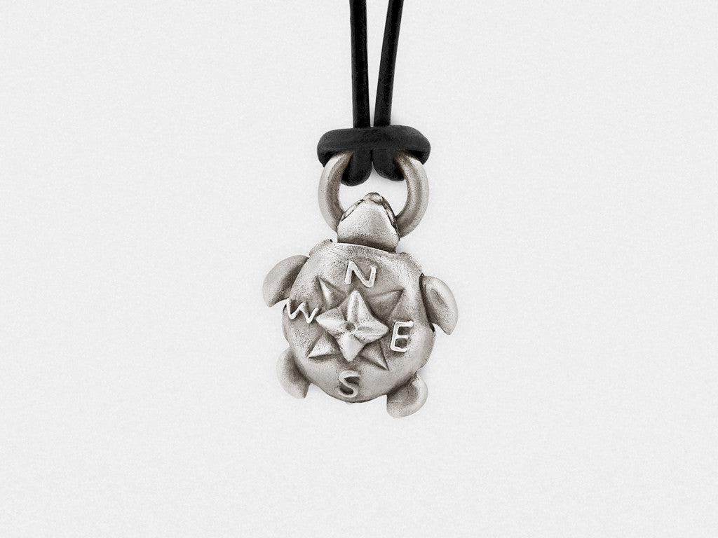 "Turtle ""Compass Rose"" Pendant, Pill Box Locket with Secret Compartment"