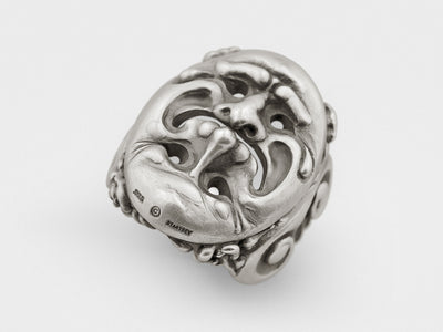 Tragedy and Comedy Mask Ring in Sterling Silver