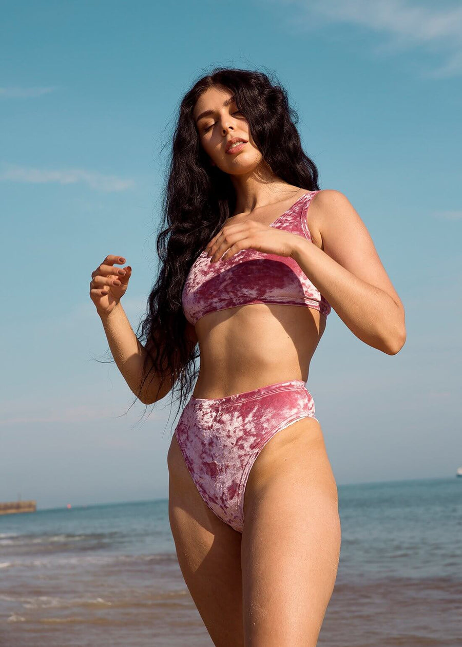 Dusky Pink Crushed Velvet Crop and High Cut Bottom Festival Bikini