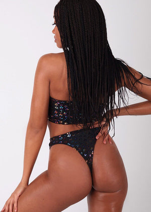Black Gypsy Bandeau and Thong Festival Bikini Bottoms
