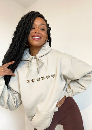 Sand Oversized Hoodie with Leopard Print Hearts