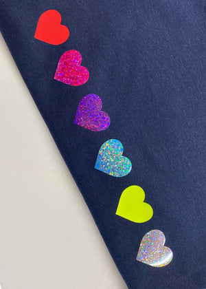Rainbow Glitter Hearts Sweatshirt in Navy