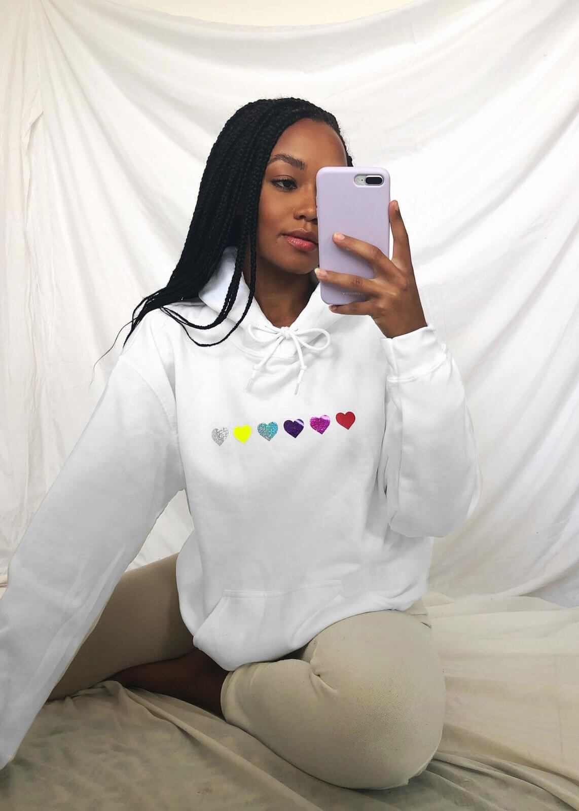 Rainbow Heart Oversized Hoodie in White
