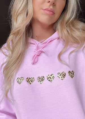 Baby Pink Oversized Hoodie with Leopard Print Hearts