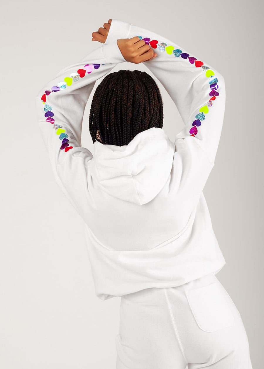 Rainbow Glitter Heart Sleeves Oversized Hoodie in White