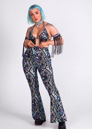Multicoloured Snakeskin Fringe Triangle Top and Flares