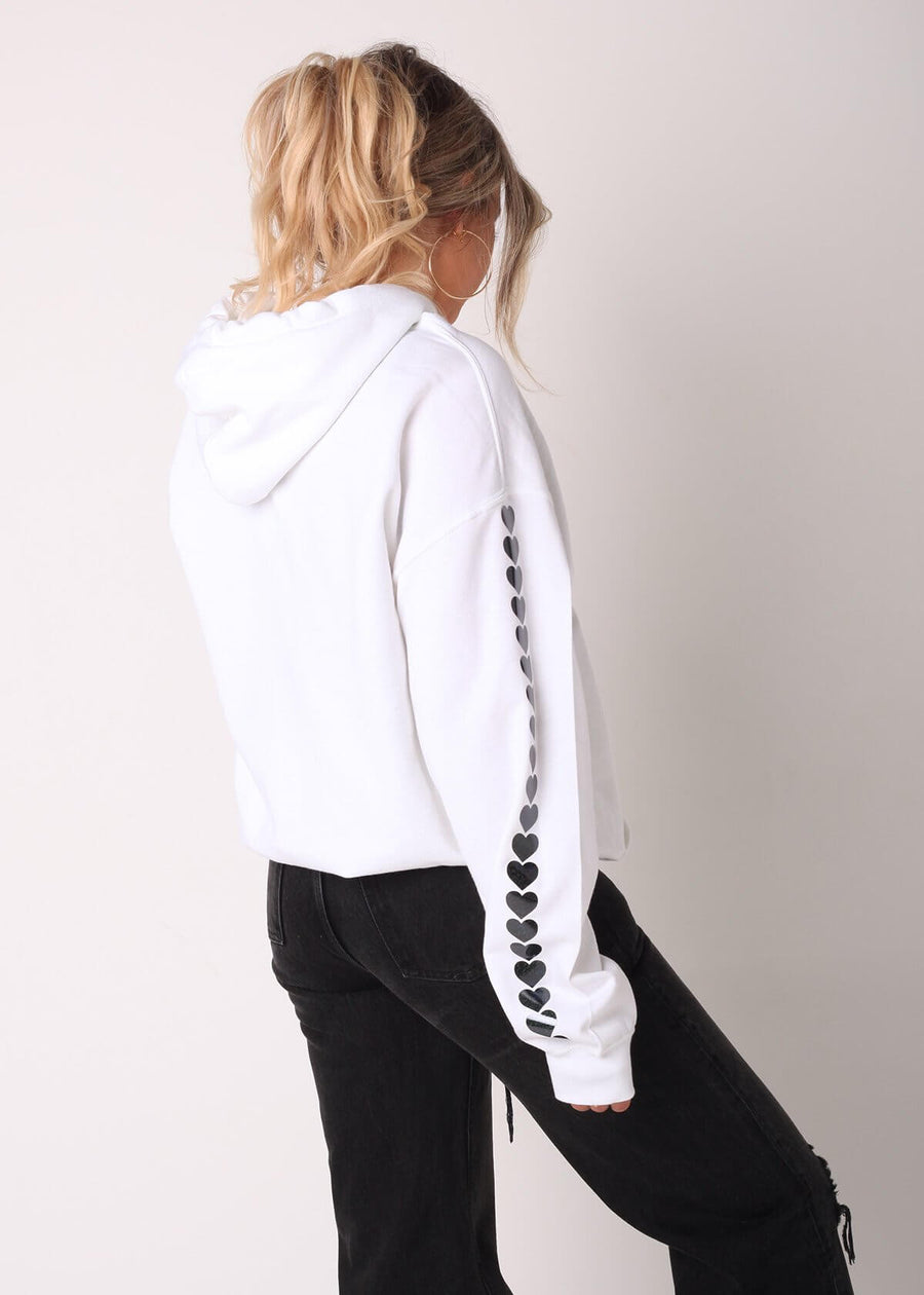 Black Glitter Heart Sleeves Oversized Hoodie in White