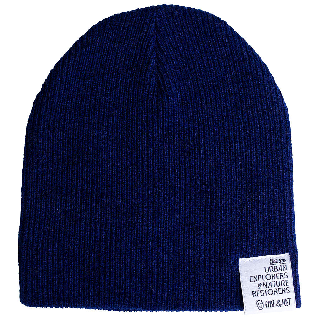 Navy Slouch & Roll Beanie