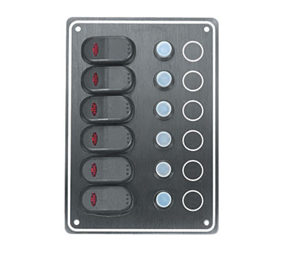6 Circuit Waterproof Boat Switch/Breaker Panel Black - Boaterbits