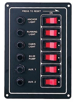 12 Volt Power Boat Circuit Breaker Panel 6 Gang - Boaterbits