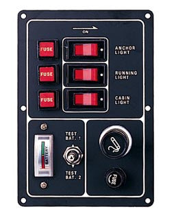 Switch Panel W/ Dual Battery Gauge And Cig Lighter - Boaterbits